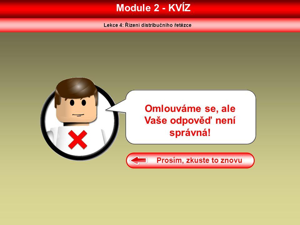 Lekce 4: Řízení distribučního řetězce Vaše odpověď není správná!