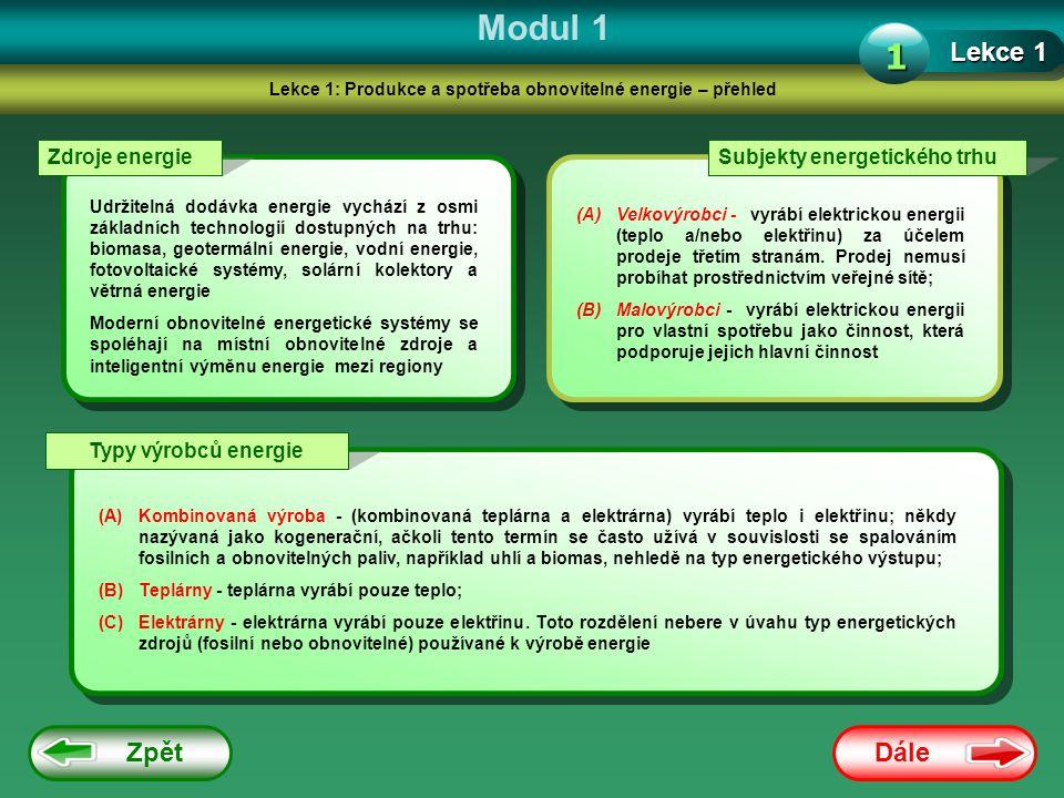 Lekce 1: Produkce a spotřeba obnovitelné energie – přehled
