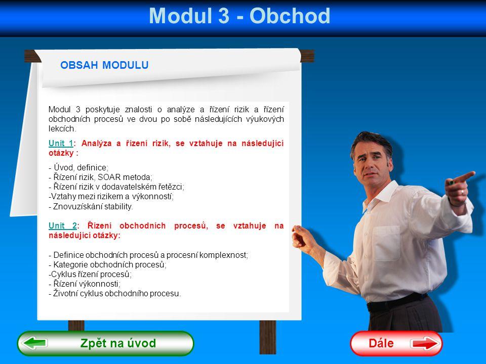 Modul 3 - Obchod Zpět na úvod Dále OBSAH MODULU