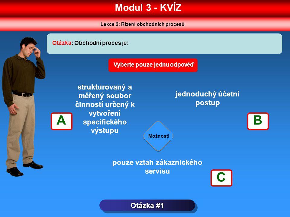 Modul 3 - KVÍZ Lekce 2: Řízení obchodních procesů. Otázka: Obchodní proces je: Vyberte pouze jednu odpověď.