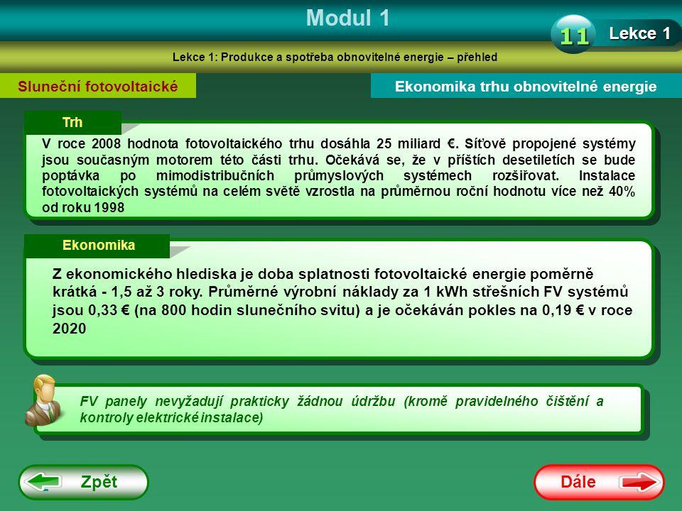 Modul 1 11 Lekce 1 Zpět Dále Sluneční fotovoltaické