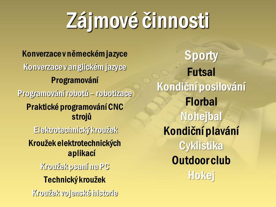 Zájmové činnosti Sporty Futsal Kondiční posilování Florbal Nohejbal