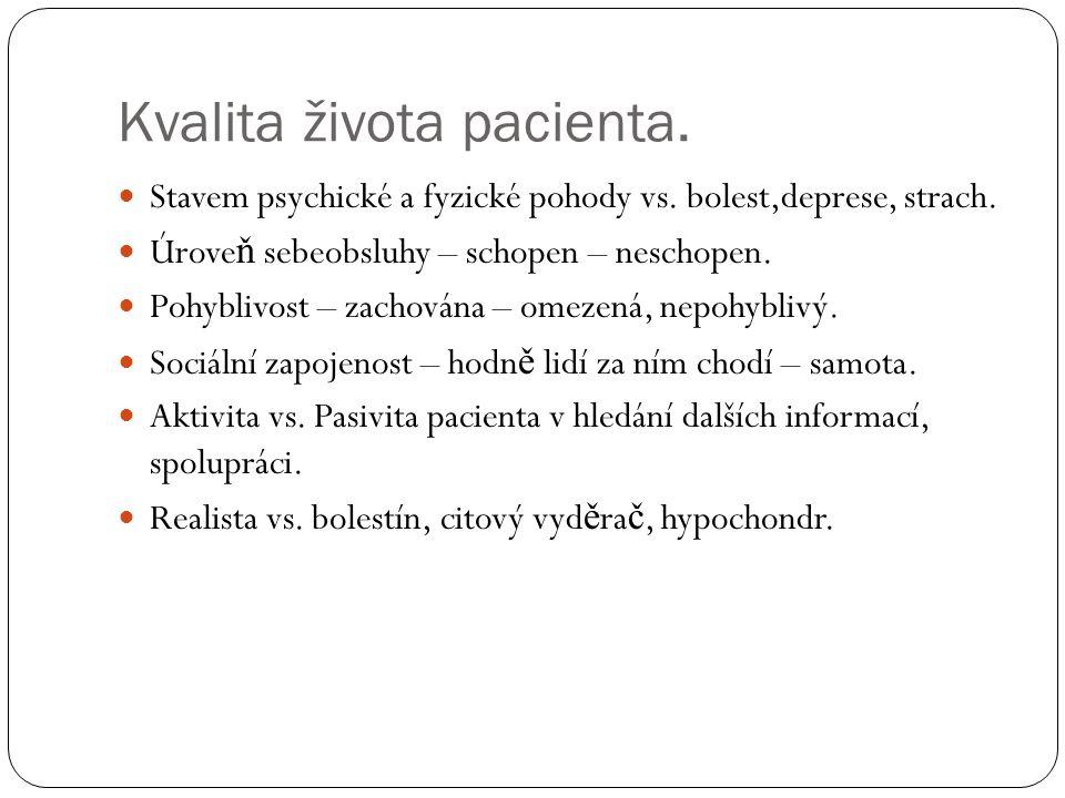 Kvalita života pacienta.