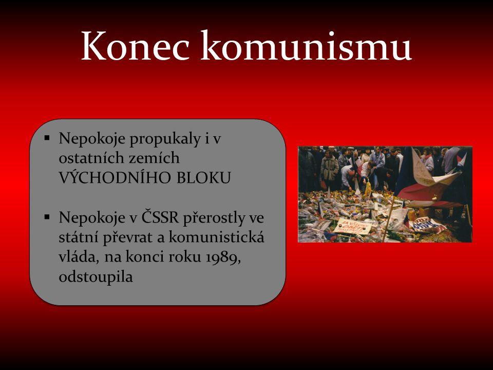 Konec komunismu Nepokoje propukaly i v ostatních zemích VÝCHODNÍHO BLOKU.