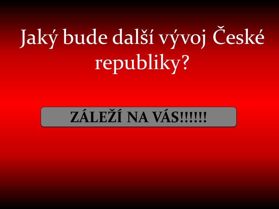Jaký bude další vývoj České republiky