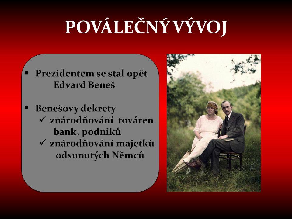 POVÁLEČNÝ VÝVOJ Prezidentem se stal opět Edvard Beneš Benešovy dekrety