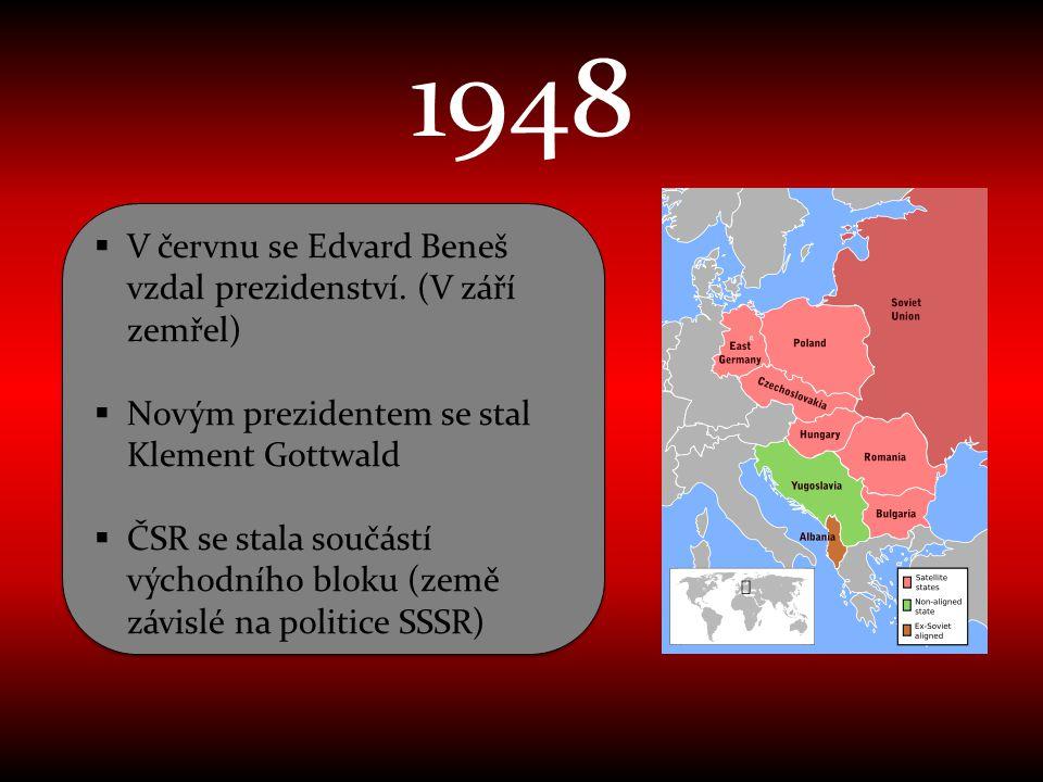 1948 V červnu se Edvard Beneš vzdal prezidenství. (V září zemřel)