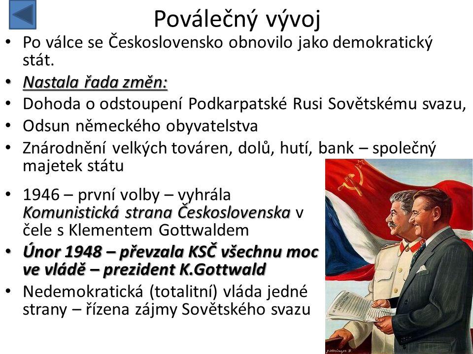 Poválečný vývoj Po válce se Československo obnovilo jako demokratický stát. Nastala řada změn: