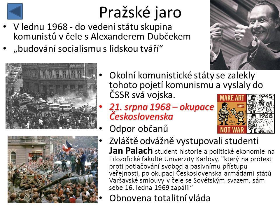 """Pražské jaro V lednu 1968 - do vedení státu skupina komunistů v čele s Alexanderem Dubčekem. """"budování socialismu s lidskou tváří"""
