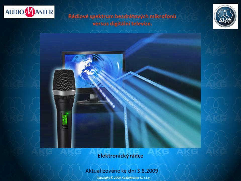 Rádiové spektrum bezdrátových mikrofonů versus digitální televize.