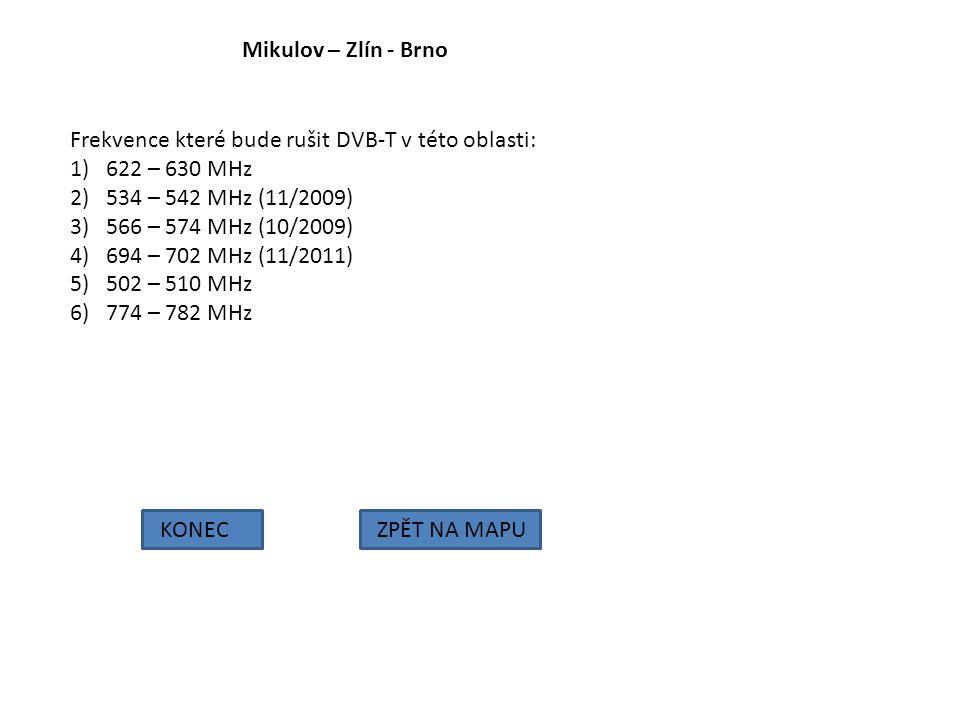 Mikulov – Zlín - Brno Frekvence které bude rušit DVB-T v této oblasti: 622 – 630 MHz. 534 – 542 MHz (11/2009)
