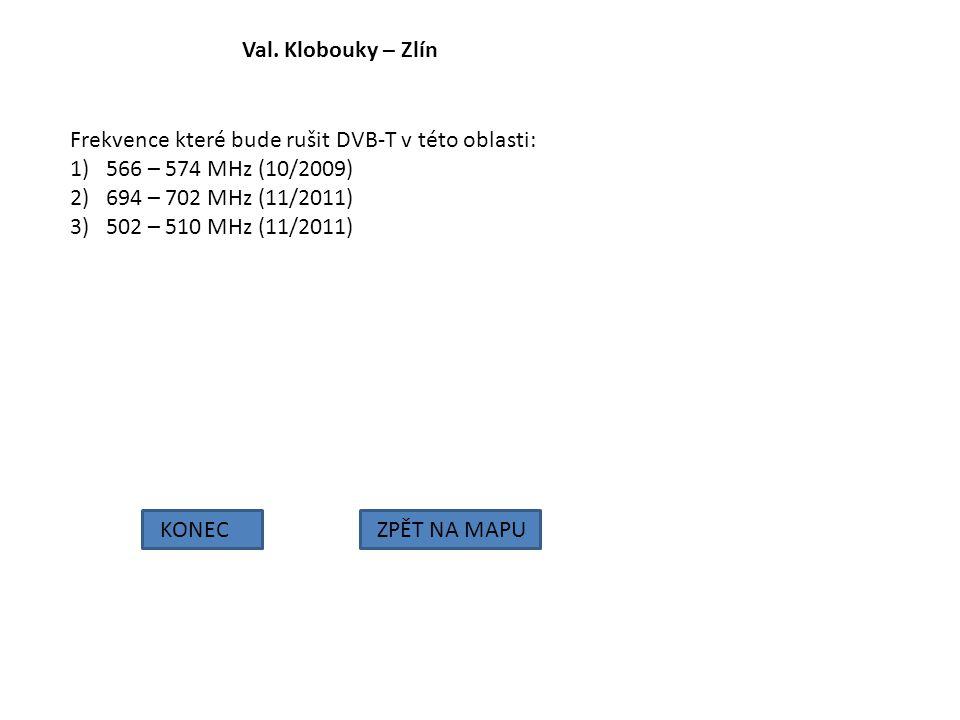 Val. Klobouky – Zlín Frekvence které bude rušit DVB-T v této oblasti: 566 – 574 MHz (10/2009) 694 – 702 MHz (11/2011)