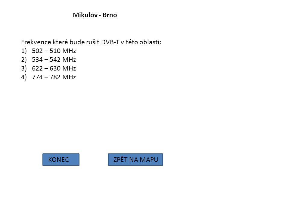 Mikulov - Brno Frekvence které bude rušit DVB-T v této oblasti: 502 – 510 MHz. 534 – 542 MHz. 622 – 630 MHz.