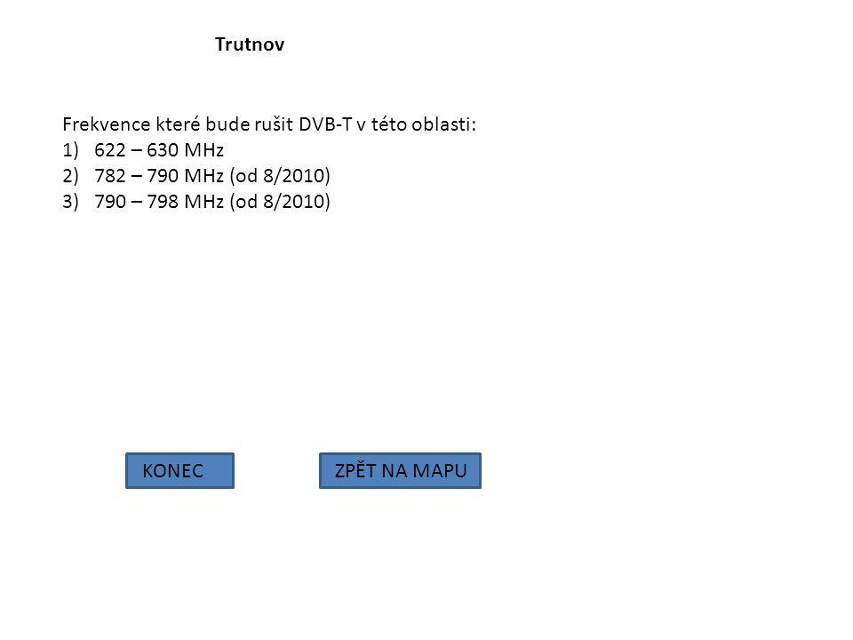 Trutnov Frekvence které bude rušit DVB-T v této oblasti: 622 – 630 MHz. 782 – 790 MHz (od 8/2010)