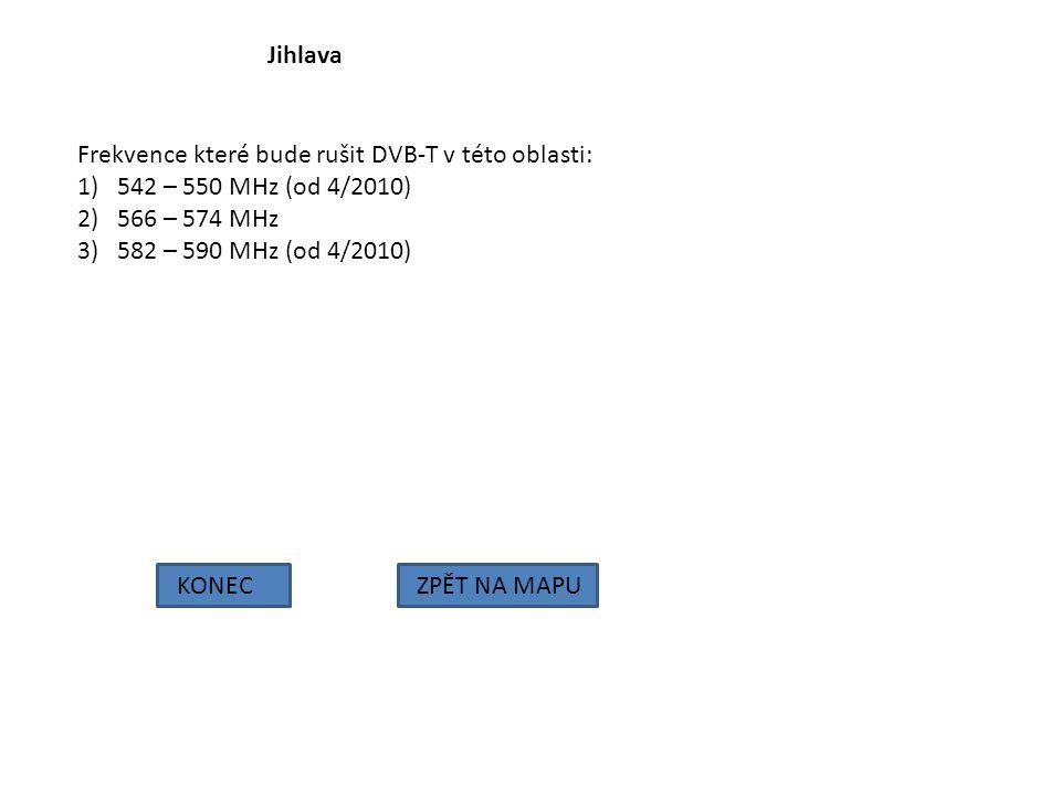 Jihlava Frekvence které bude rušit DVB-T v této oblasti: 542 – 550 MHz (od 4/2010) 566 – 574 MHz.