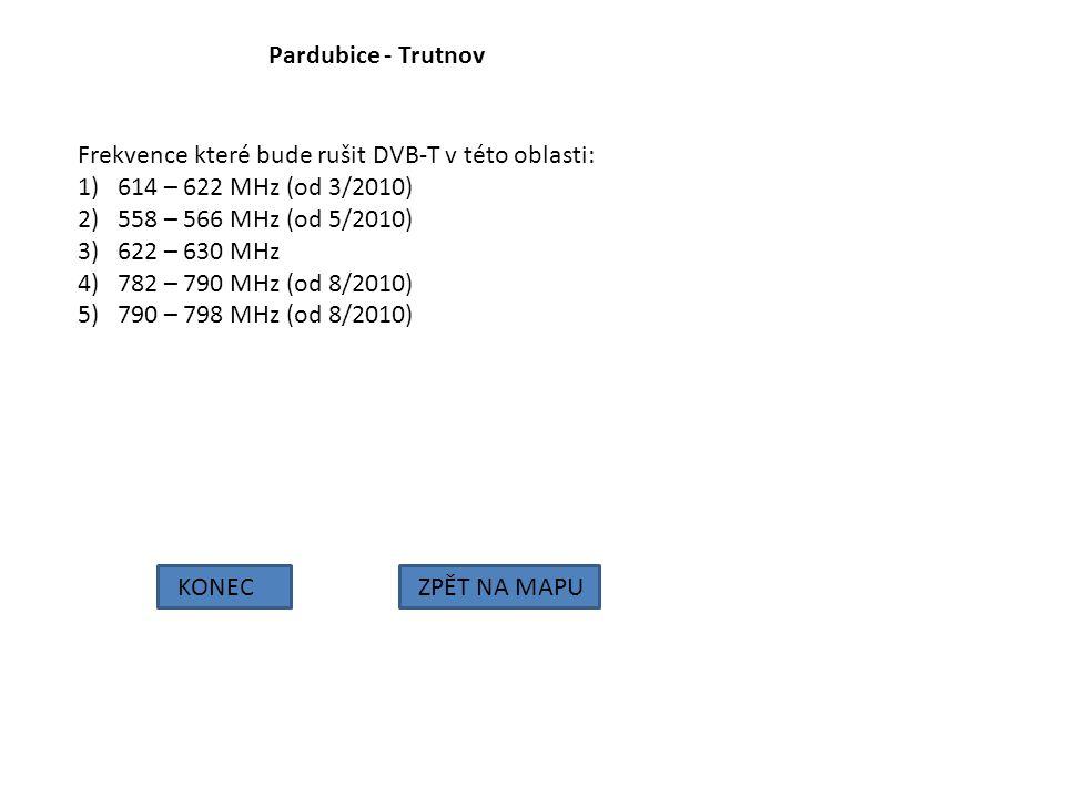 Pardubice - Trutnov Frekvence které bude rušit DVB-T v této oblasti: 614 – 622 MHz (od 3/2010) 558 – 566 MHz (od 5/2010)