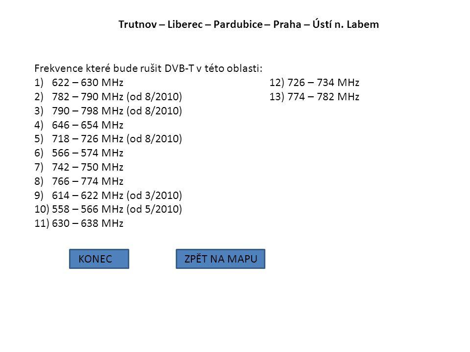 Trutnov – Liberec – Pardubice – Praha – Ústí n. Labem