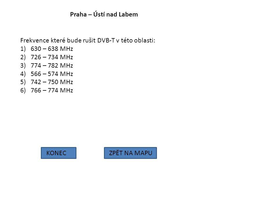Praha – Ústí nad Labem Frekvence které bude rušit DVB-T v této oblasti: 630 – 638 MHz. 726 – 734 MHz.