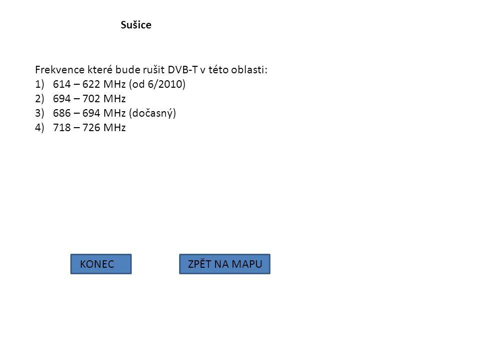 Sušice Frekvence které bude rušit DVB-T v této oblasti: 614 – 622 MHz (od 6/2010) 694 – 702 MHz. 686 – 694 MHz (dočasný)