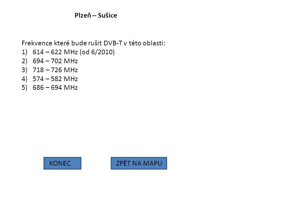 Plzeň – Sušice Frekvence které bude rušit DVB-T v této oblasti: 614 – 622 MHz (od 6/2010) 694 – 702 MHz.