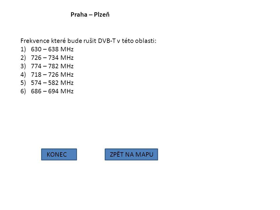 Praha – Plzeň Frekvence které bude rušit DVB-T v této oblasti: 630 – 638 MHz. 726 – 734 MHz. 774 – 782 MHz.