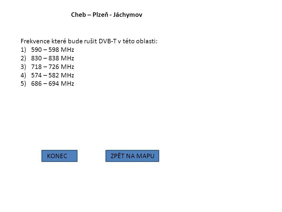 Cheb – Plzeň - Jáchymov Frekvence které bude rušit DVB-T v této oblasti: 590 – 598 MHz. 830 – 838 MHz.
