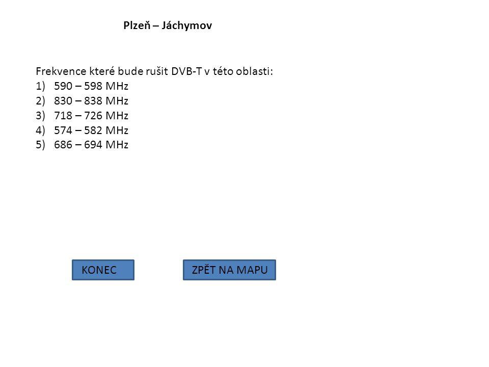 Plzeň – Jáchymov Frekvence které bude rušit DVB-T v této oblasti: 590 – 598 MHz. 830 – 838 MHz. 718 – 726 MHz.
