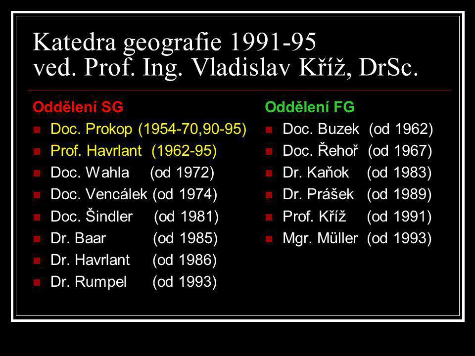 Katedra geografie 1991-95 ved. Prof. Ing. Vladislav Kříž, DrSc.