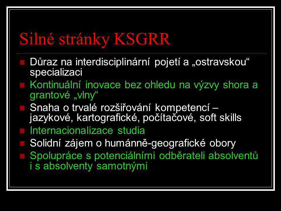 """Silné stránky KSGRR Důraz na interdisciplinární pojetí a """"ostravskou specializaci. Kontinuální inovace bez ohledu na výzvy shora a grantové """"vlny"""