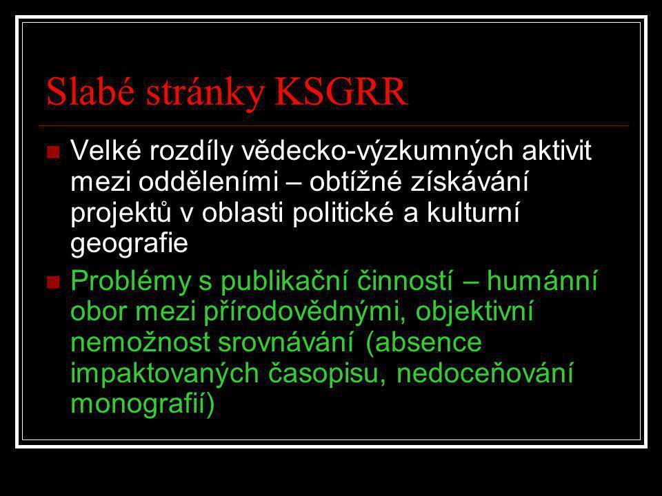 Slabé stránky KSGRR Velké rozdíly vědecko-výzkumných aktivit mezi odděleními – obtížné získávání projektů v oblasti politické a kulturní geografie.