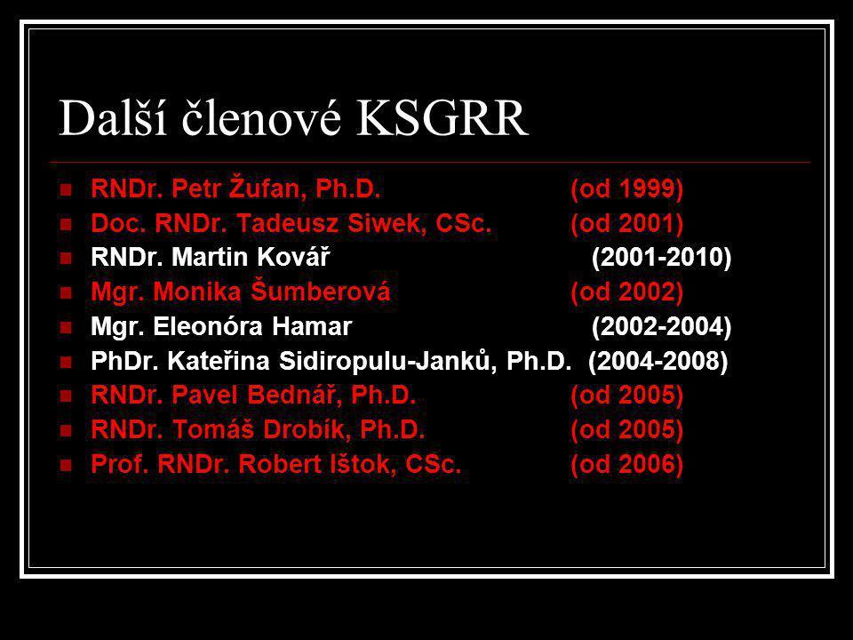 Další členové KSGRR RNDr. Petr Žufan, Ph.D. (od 1999)