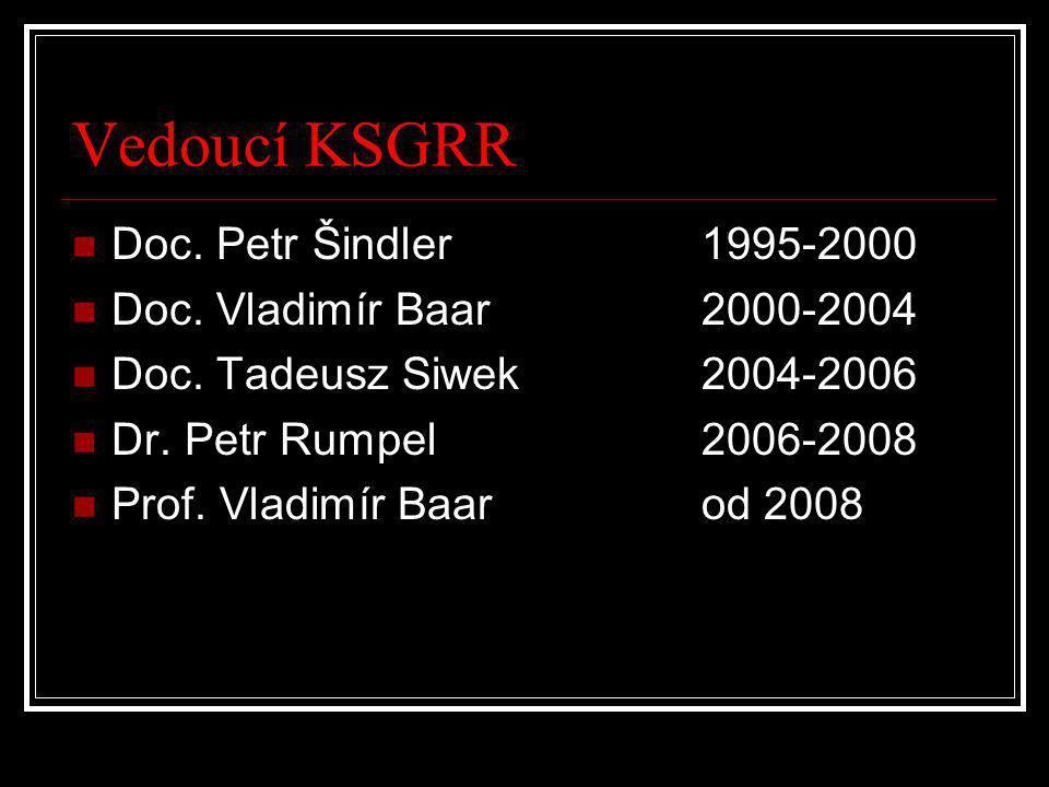 Vedoucí KSGRR Doc. Petr Šindler 1995-2000 Doc. Vladimír Baar 2000-2004