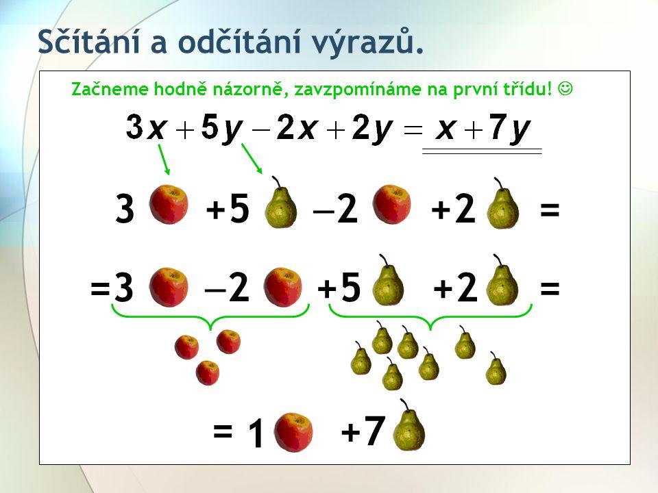 3 +5 2 +2 = =3 2 +5 +2 = = =1 +7 Sčítání a odčítání výrazů.