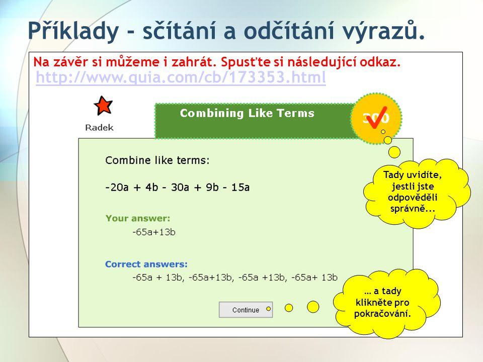 Příklady - sčítání a odčítání výrazů.