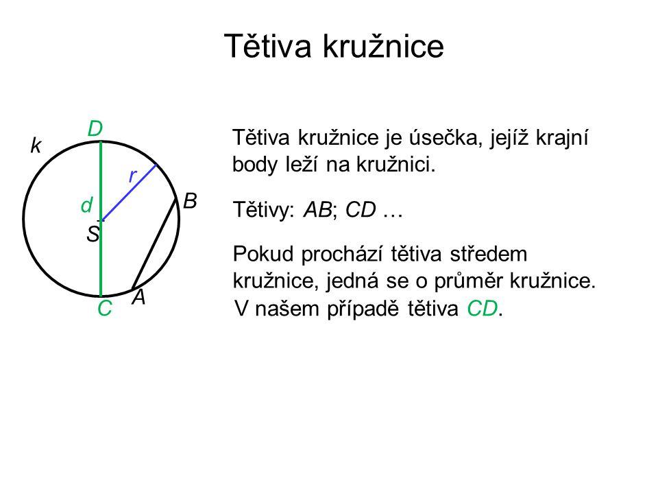 Tětiva kružnice D. Tětiva kružnice je úsečka, jejíž krajní body leží na kružnici. k. r. d. B. Tětivy: AB; CD …