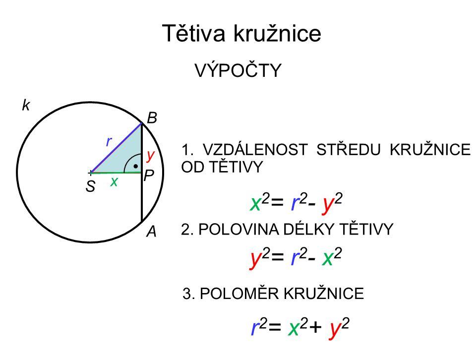 Tětiva kružnice x2= r2- y2 y2= r2- x2 r2= x2+ y2 VÝPOČTY k B r y