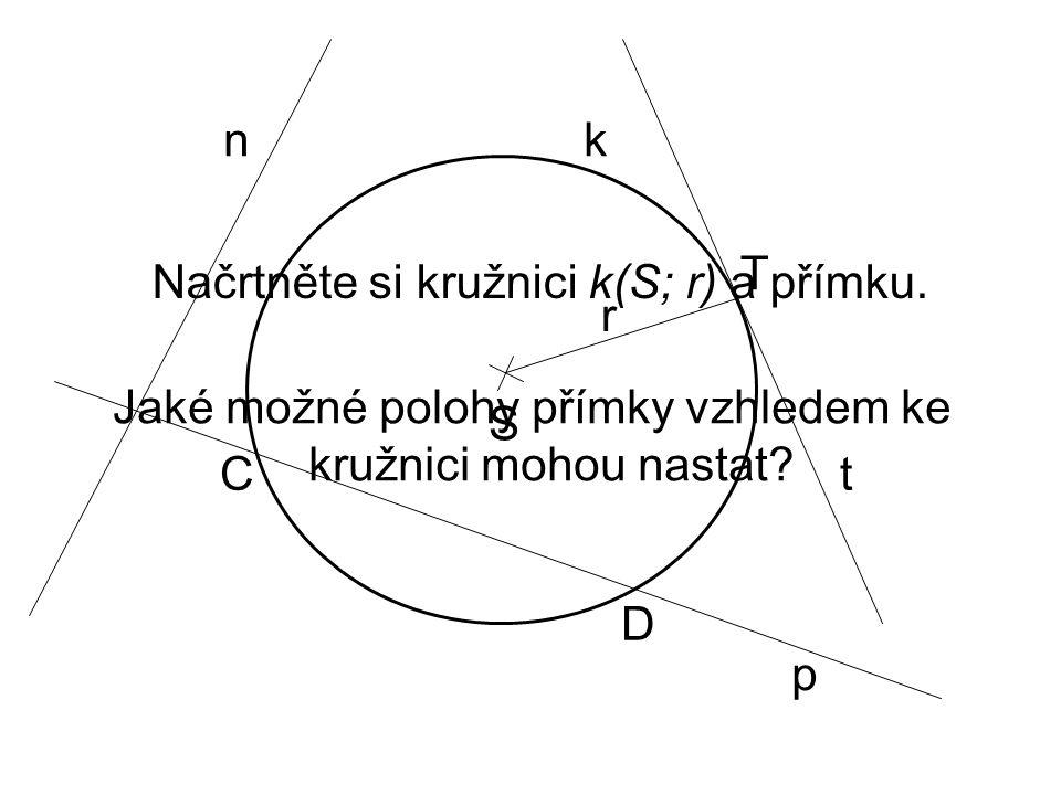 Načrtněte si kružnici k(S; r) a přímku. r