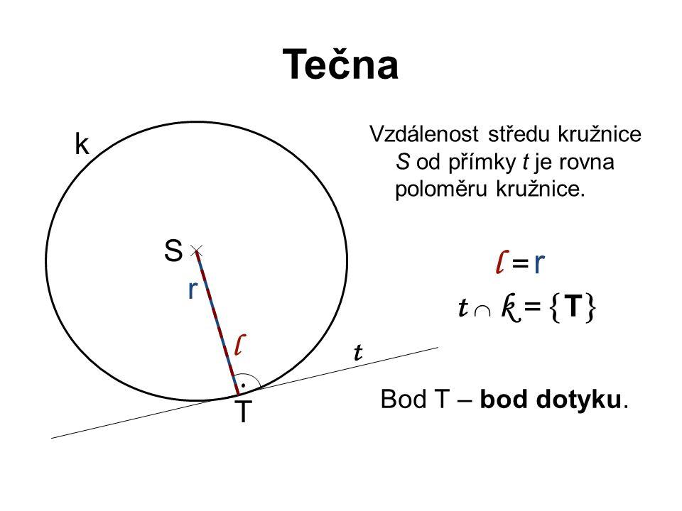 Tečna l = r t  k = T k S r l t . T Bod T – bod dotyku.