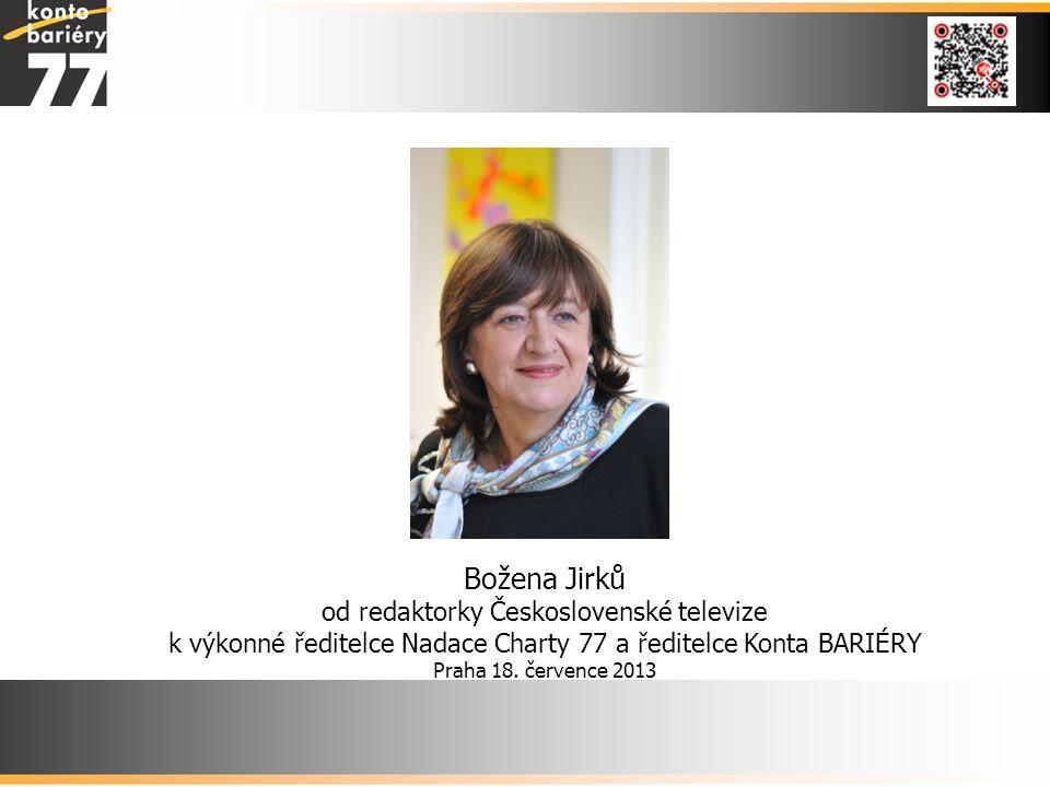 Božena Jirků od redaktorky Československé televize k výkonné ředitelce Nadace Charty 77 a ředitelce Konta BARIÉRY Praha 18.
