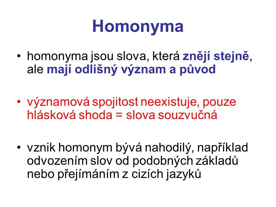 Homonyma homonyma jsou slova, která znějí stejně, ale mají odlišný význam a původ.