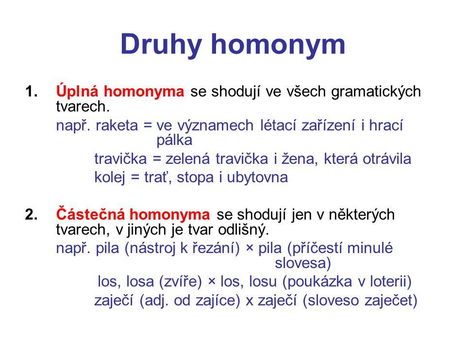 Druhy homonym Úplná homonyma se shodují ve všech gramatických tvarech.