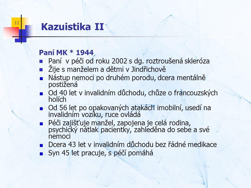 Kazuistika II Paní MK * 1944. Paní v péči od roku 2002 s dg. roztroušená skleróza. Žije s manželem a dětmi v Jindřichově.