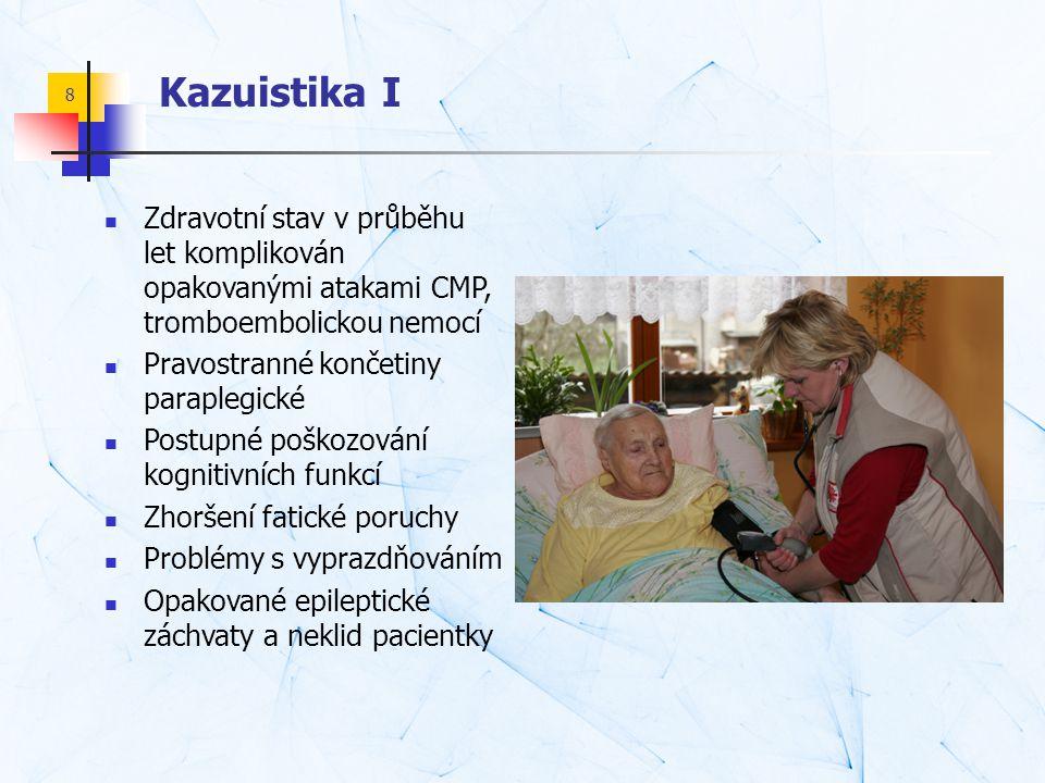 Kazuistika I Zdravotní stav v průběhu let komplikován opakovanými atakami CMP, tromboembolickou nemocí.