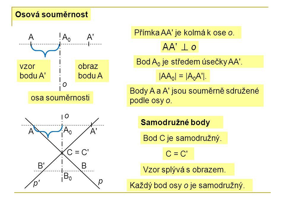 Osová souměrnost Přímka AA je kolmá k ose o. A. A0. A Bod A0 je středem úsečky AA . vzor bodu A