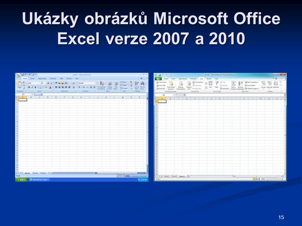 Ukázky obrázků Microsoft Office Excel verze 2007 a 2010