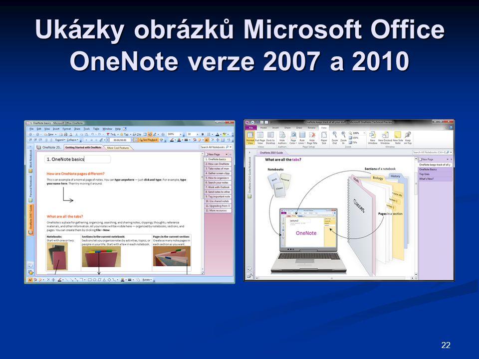 Ukázky obrázků Microsoft Office OneNote verze 2007 a 2010