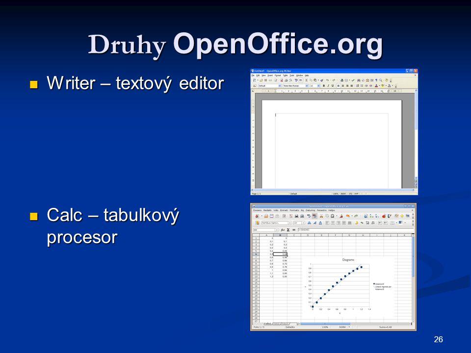 Druhy OpenOffice.org Writer – textový editor Calc – tabulkový procesor