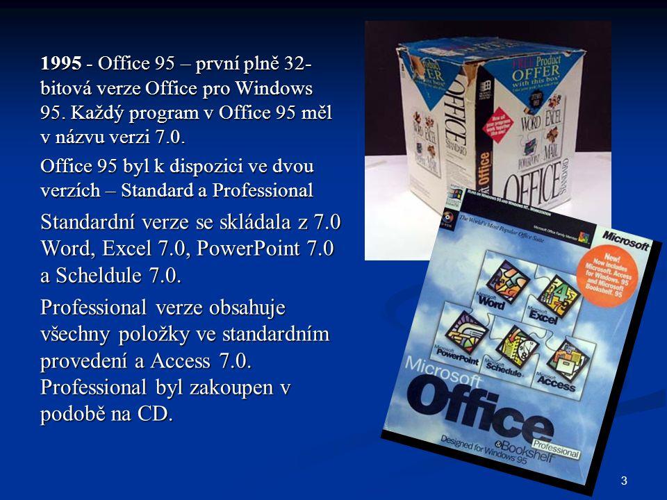 1995 - Office 95 – první plně 32-bitová verze Office pro Windows 95