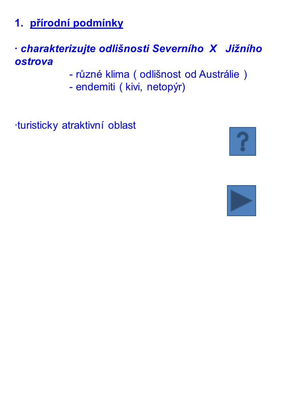 přírodní podmínky · charakterizujte odlišnosti Severního X Jižního ostrova. - různé klima ( odlišnost od Austrálie )