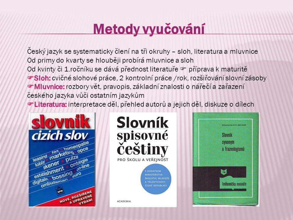 Metody vyučování Český jazyk se systematicky člení na tři okruhy – sloh, literatura a mluvnice.